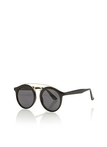 Circular Top Bar Sunglasses,BLACK,large