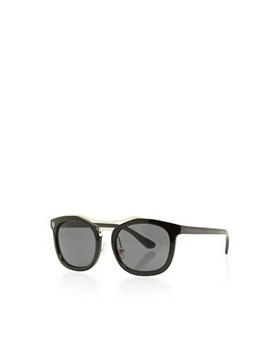 Oval Top Bar Sunglasses,BLACK,large
