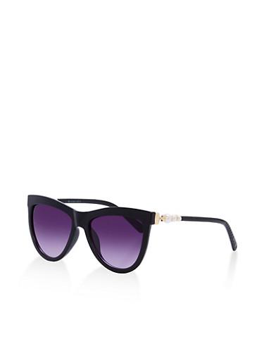 Faux Pearl Accent Sunglasses,BLACK,large