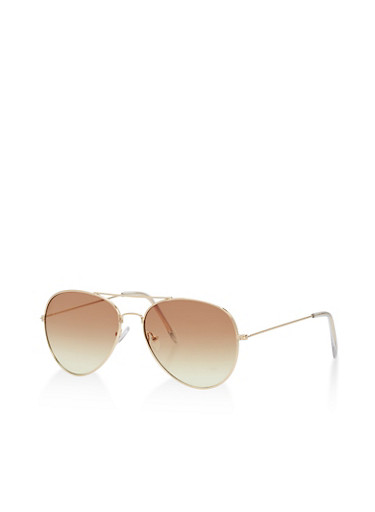 Colored Lens Aviator Sunglasses,BROWN/YELLOW,large