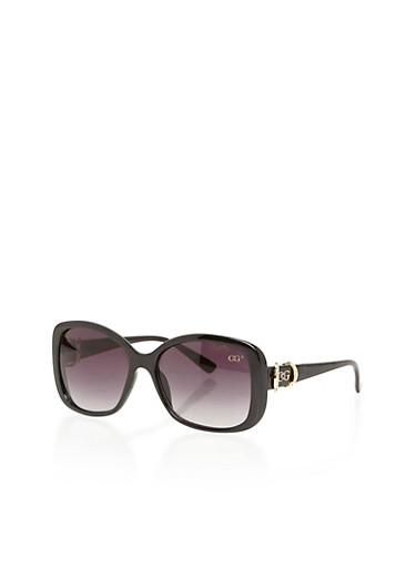 Square Frame Sunglasses with Rhinestone Trim Metal Hinge,BLACK,large