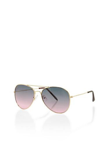 Ombre Aviator Sunglasses,BLACK LAMI,large