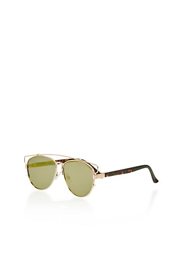 Flat Sunglasses with Full Top Bar Cut Out,GOLD,large