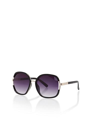 Oversized Metallic Lined Sunglasses,BLACK,large