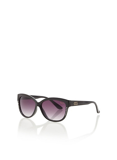 Oversized Sunglasses with Mini Studs,BLACK,large