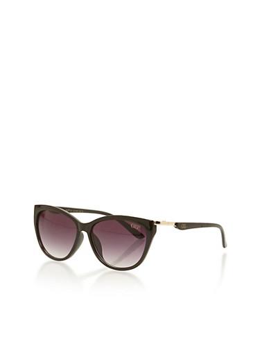 Cat Eye Sunglasses with Metal Hinge,BLACK,large