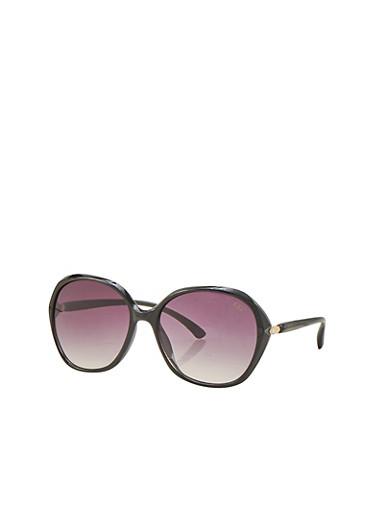 Oval Metal Hinge Sunglasses,BLACK,large