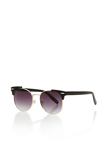Plastic Corner Frame Sunglasses,BLACK,large