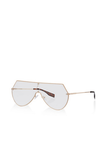 Clear Lens Metallic Frame Glasses,GOLD/CLEAR,large