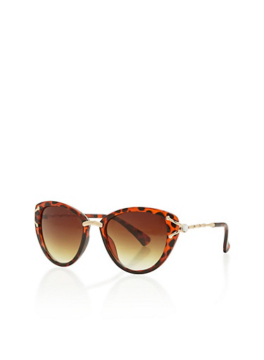 Metal Accented Cat Eye Sunglasses,BROWN PTN,large