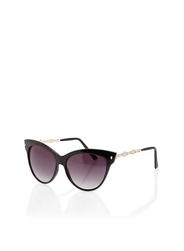 Plastic Cat Eye Sunglasses with Metallic Accents,BLACK,large