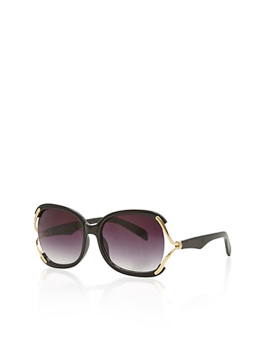 Over Size Metal Accent Sunglasses,BLACK,large