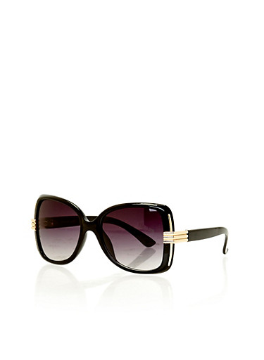 Oversized Square Sunglasses with Textured Metal Arm Detail,BLACK,large
