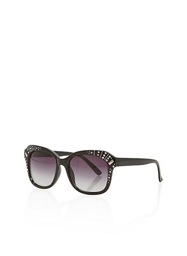 Rhinestone Paved Frame Ombre Sunglasses,BLACK,large