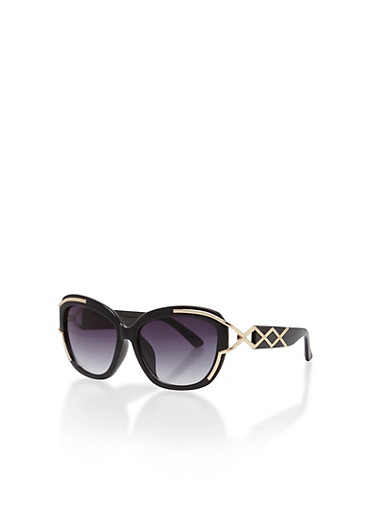 Sunglasses with Metallic Cut Out Details,BLACK,large