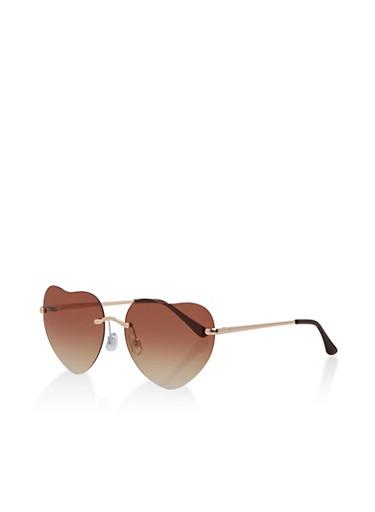 Rimless Heart Aviator Sunglasses,BROWN,large