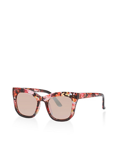 Floral Trim Square Sunglasses,PINK,large