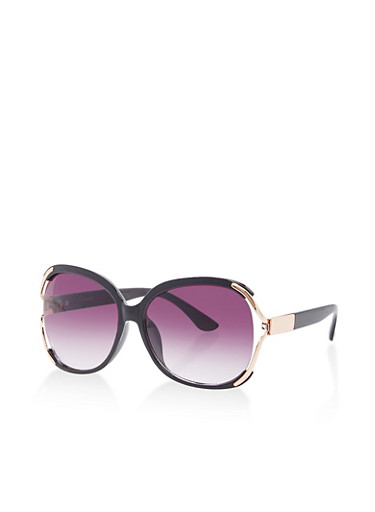 Metallic Accent Open Side Sunglasses,BLACK,large