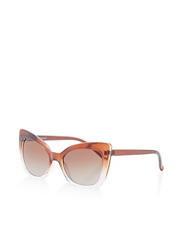 Plastic Cat Eye Sunglasses,BROWN,large
