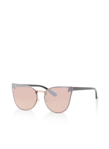 Cat Eye Shield Sunglasses,BLACK/SILVER PINK,large