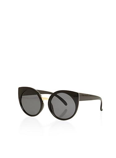 Thick Frame Round Cat Eye Sunglasses,BLACK,large