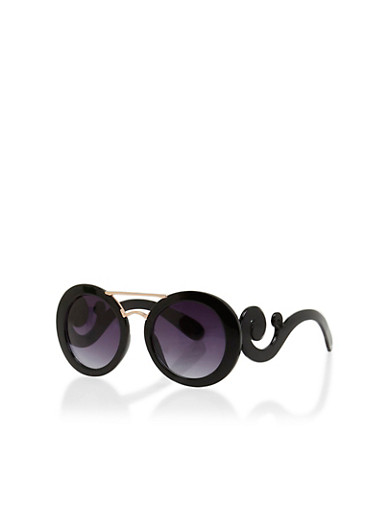 Round Sunglasses With Scrolling Detail,BLACK,large