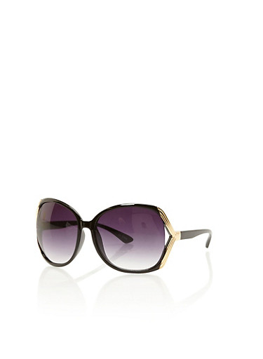 Oversized Sunglasses with Cut Out Metallic Sides,BLACK,large