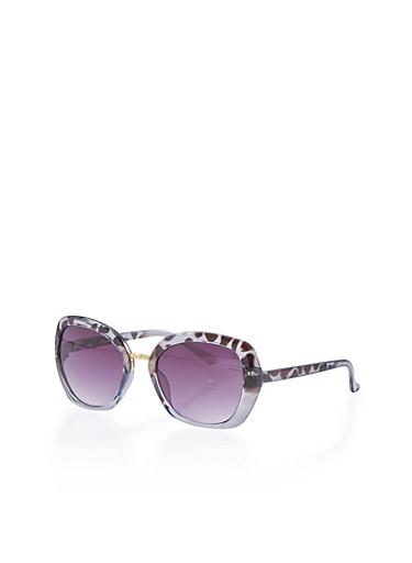 Plastic Frame Sunglasses with Metal Bridge,BLACK,large
