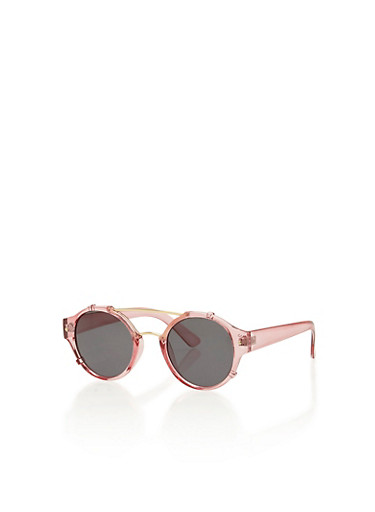 Round Frame Sunglasses with Metallic Top Bar and Bridge,PINK,large