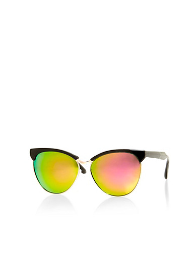 Top Bar Sunglasses with Metal Frame,PINK/BLACK,large