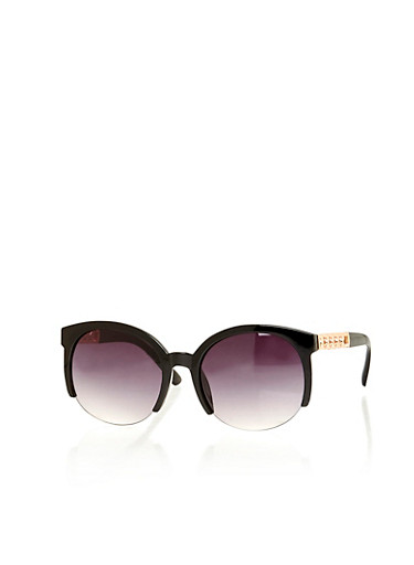 Half Frame Sunglasses with Metal Link Accents,BLACK,large