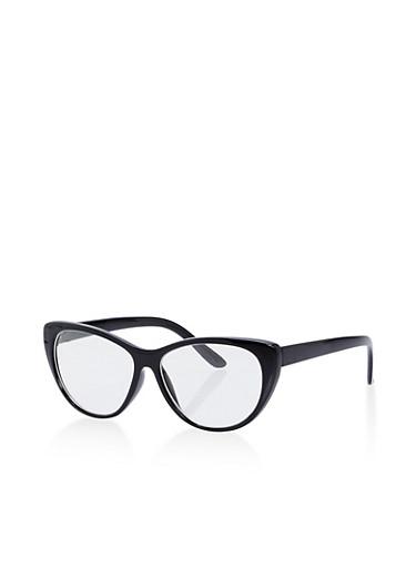 Thick Frame Cat Eye Glasses,BLACK,large