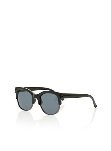Plastic Frame Browline Sunglasses,BLACK,large