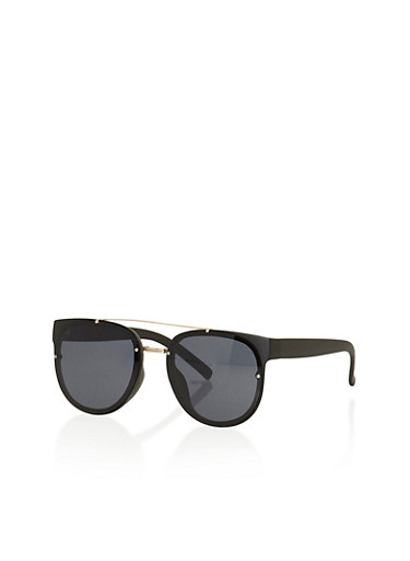 Sunglasses with Metal Top Bar and Bridge,BLACK,large