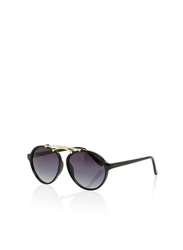 Plastic Aviator Sunglasses with Top Metal Bar,BLACK,large