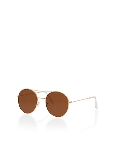Round Metal Rim Top Bar Sunglasses,BROWN,large