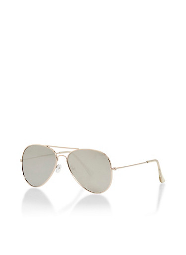 Flat Metal Frame Aviator Sunglasses,GOLD/SILVER,large