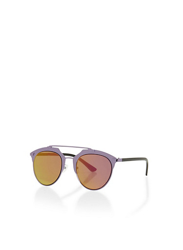 Top Bar Sunglasses with Geometric Brow Accents,PURPLE,large