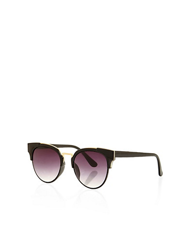 Round Sunglasses with Plastic Frame and Metal Top Bar,BLACK,large