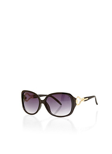 Tortoise Shell Sunglasses with Metal Oval Detail,BLACK,large