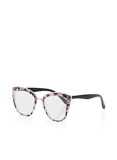 Floral Cat Eye Glasses,BLACK/FLORAL,large