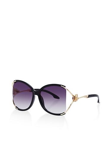 Oversized Metallic Rose Arm Sunglasses,BLACK/SMOKE,large