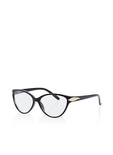 Metallic Detail Cat Eye Glasses,BLACK/GOLD,large