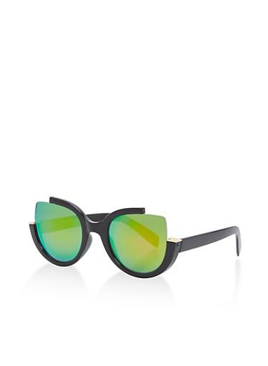 Cut Out Plastic Frame Sunglasses,BLACK/ROSE,large