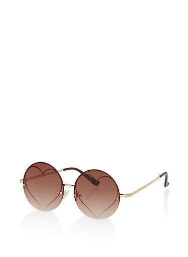 Round Metallic Heart Sunglasses,BROWN,large