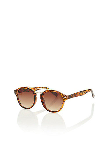 Plastic Frame Sunglasses with Spring Top Bar,BROWN/TORT,large