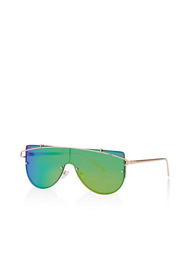 Mirrored Lens Shield Sunglasses,ROSE,large