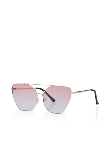 Mirrored Metallic Geometric Sunglasses,ROSE,large