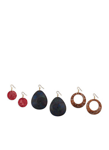 Plastic Geometric Drop Earrings,MULTI COLOR,large
