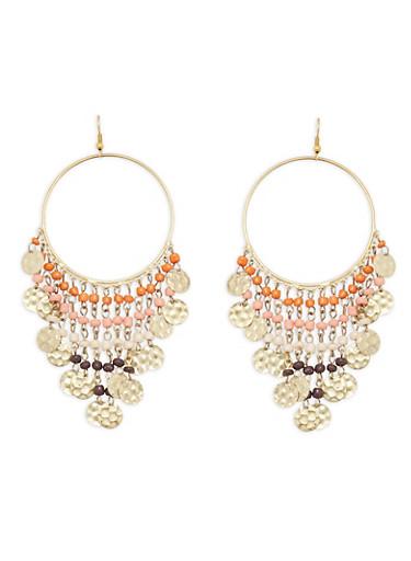 Beaded Fringe Earrings,CORAL,large